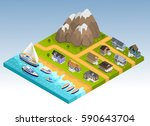 sea line scape composition with ... | Shutterstock .eps vector #590643704