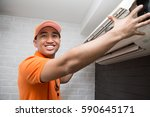 air conditioning technician | Shutterstock . vector #590645171