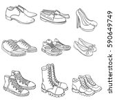 vector set of sketch shoes... | Shutterstock .eps vector #590649749