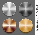set of round templates of metal ... | Shutterstock .eps vector #590651891