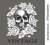 skull in flowers painted by... | Shutterstock .eps vector #590656844