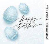 happy easter lettering on...   Shutterstock .eps vector #590657117