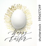 happy easter lettering on the... | Shutterstock .eps vector #590657249