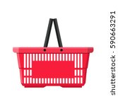 red plastic shopping basket.... | Shutterstock .eps vector #590663291