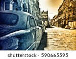 view of havana street with... | Shutterstock . vector #590665595