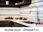 white granite kitchen counter... | Shutterstock . vector #590666711