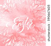 happy easter lettering on the... | Shutterstock .eps vector #590667605