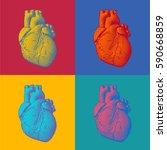 engraving human heart... | Shutterstock .eps vector #590668859