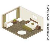 hotel room in isometric view... | Shutterstock .eps vector #590675249