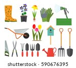 big set of garden icons. flat... | Shutterstock .eps vector #590676395