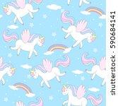 cute hand drawn unicorn vector... | Shutterstock .eps vector #590684141