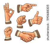 male hand sign. fist  like ... | Shutterstock .eps vector #590688305
