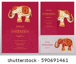 invitation card templates with... | Shutterstock .eps vector #590691461