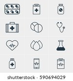 illustration of 12 health icons.... | Shutterstock . vector #590694029