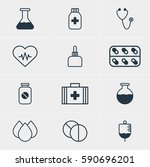 illustration of 12 health icons.... | Shutterstock . vector #590696201