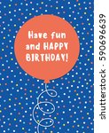 fun birthday card design with... | Shutterstock .eps vector #590696639
