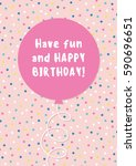 fun birthday card design with... | Shutterstock .eps vector #590696651