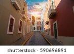 san juan streets on an early... | Shutterstock . vector #590696891