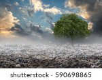 big alone tree in the garbage ... | Shutterstock . vector #590698865