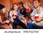 group of drunk young people...   Shutterstock . vector #590702705