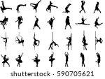 dancer silhouette on white...   Shutterstock .eps vector #590705621