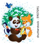 Panda  Fox And Woodpecker With...