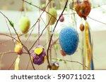 easter decoration. easter eggs... | Shutterstock . vector #590711021
