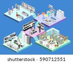 isometric interior shopping... | Shutterstock .eps vector #590712551