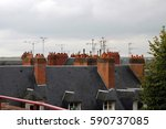 Roofs With Chimneys And Antenn...