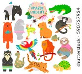 cute animals collection  baby... | Shutterstock .eps vector #590737934