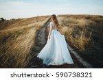bride in wedding dress goes on... | Shutterstock . vector #590738321