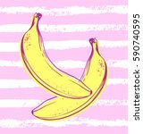 vector hand drawn banana with...   Shutterstock .eps vector #590740595