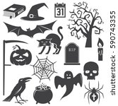 halloween vintage icon  emblem... | Shutterstock . vector #590743355