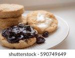 vegan buttermilk biscuits with... | Shutterstock . vector #590749649