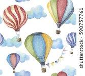 watercolor pattern with cartoon ... | Shutterstock . vector #590757761