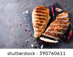 whole and sliced chicken breast ... | Shutterstock . vector #590760611