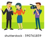two news reporter being...   Shutterstock .eps vector #590761859