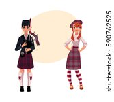 bagpiper  piper and scottish... | Shutterstock .eps vector #590762525