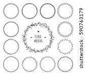 set of simple floral spring...   Shutterstock .eps vector #590763179