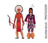 native american indian man... | Shutterstock .eps vector #590763209