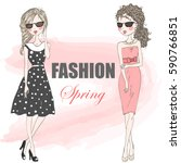 beautiful stylish cute cartoon... | Shutterstock .eps vector #590766851