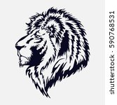 lion head  by the royal cat ...   Shutterstock .eps vector #590768531