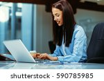 young business women working on ... | Shutterstock . vector #590785985