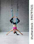 young beautiful yoga posing in... | Shutterstock . vector #590797631