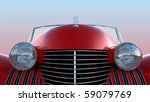Front View Of Red Retro Car...