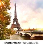romantic sunset background.... | Shutterstock . vector #590803841