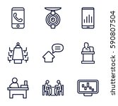 conference icons set. set of 9... | Shutterstock .eps vector #590807504