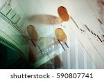 euro coin on stock chart.... | Shutterstock . vector #590807741