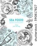 vintage seafood frame vector... | Shutterstock .eps vector #590817827