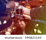 group of people celebrate party ... | Shutterstock . vector #590821145